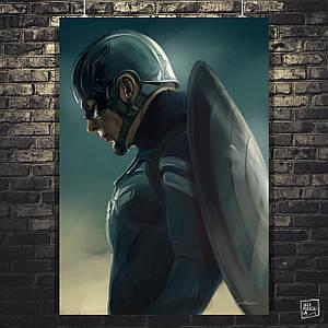 "Плакат ""Капитан Америка, Captain America, со щитом на спине"". Размер 60x42см (A2). Глянцевая бумага"