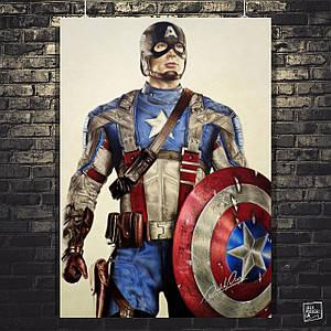 Постер Капитан Америка, Captain America, рисунок. Размер 60x42см (A2). Глянцевая бумага