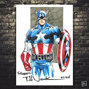 Постер Капитан Америка, Captain America, арт в стиле комиксов. Размер 60x42см (A2). Глянцевая бумага