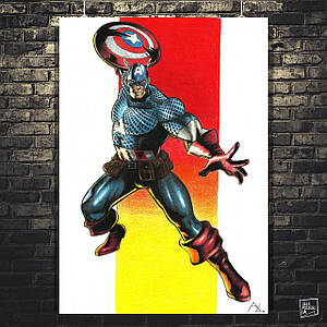 Постер Капитан Америка, Captain America, рисунок, карандаш. Размер 60x42см (A2). Глянцевая бумага