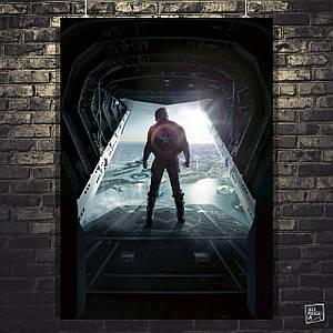 Постер Капитан Америка, Captain America, у люка самолёта. Размер 60x42см (A2). Глянцевая бумага