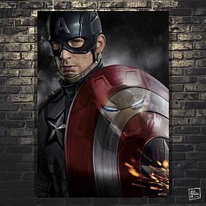 Постер Captain America, Капитан Америка и Iron Man в отражении на щите. Размер 60x42см (A2). Глянцевая бумага