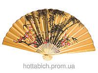 """Веер настенный """"Бамбук с сакурой на оранжевом фоне"""""""