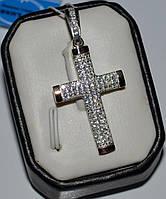 Серебряный крестик с напайками из золота, фото 1