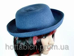 Шляпка с полями синяя