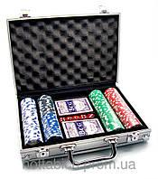 Покерный набор в алюминиевом кейсе (2 колоды карт + 200 фишек)