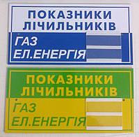 Табличка показания счетчиков на газ и электричество