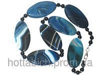 Ожерелье голубое из агата