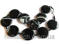 Бусы круглые из черного агата