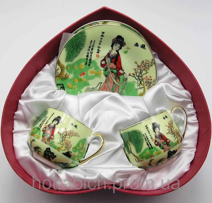 Чайный сервиз Девушка на салатном фоне