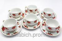 Чайный сервиз Розы на белом фоне