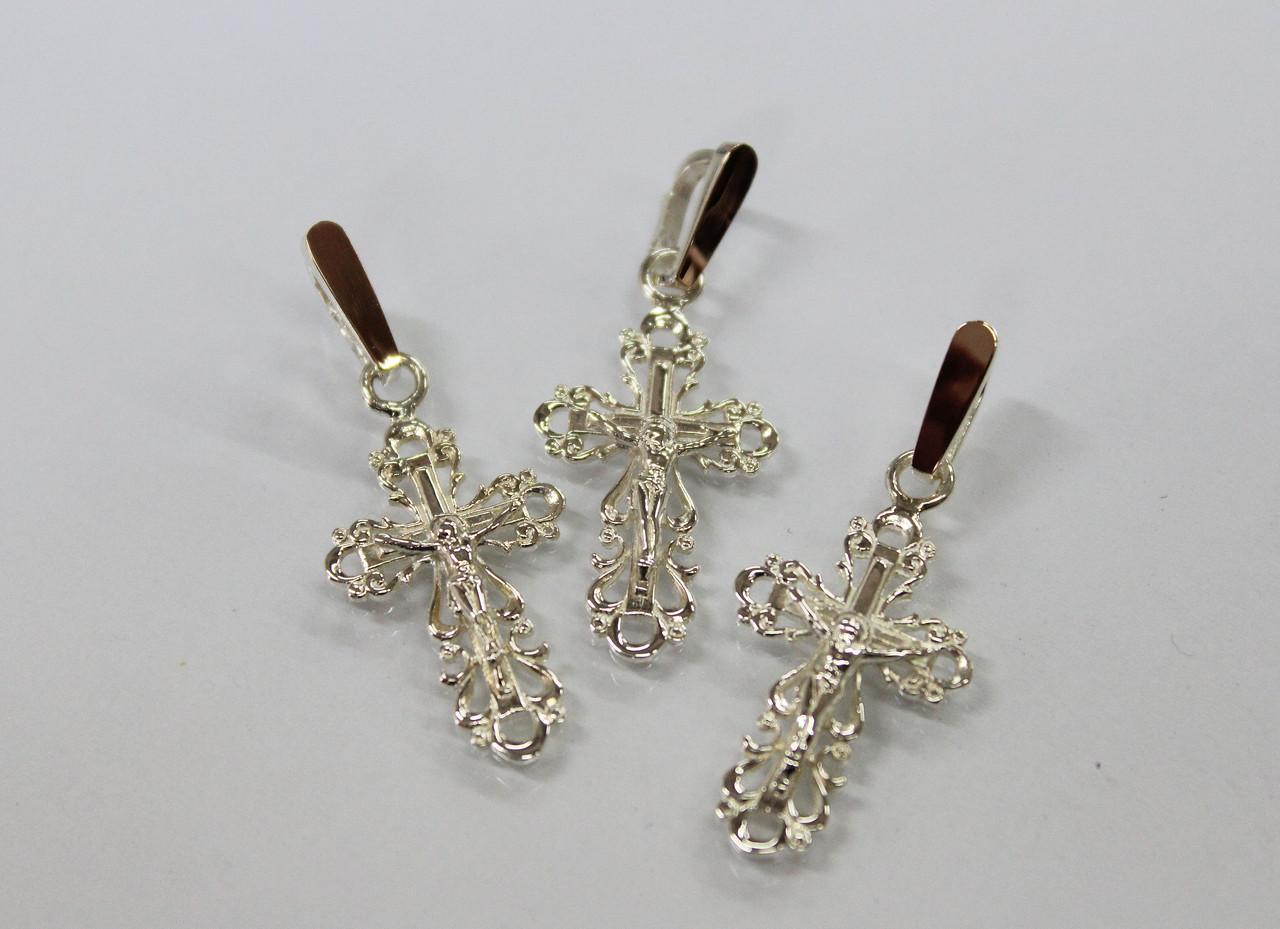 Серебряный крестик с золотом 375 пробы