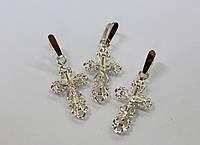 Серебряный крестик с золотом 375 пробы, фото 1