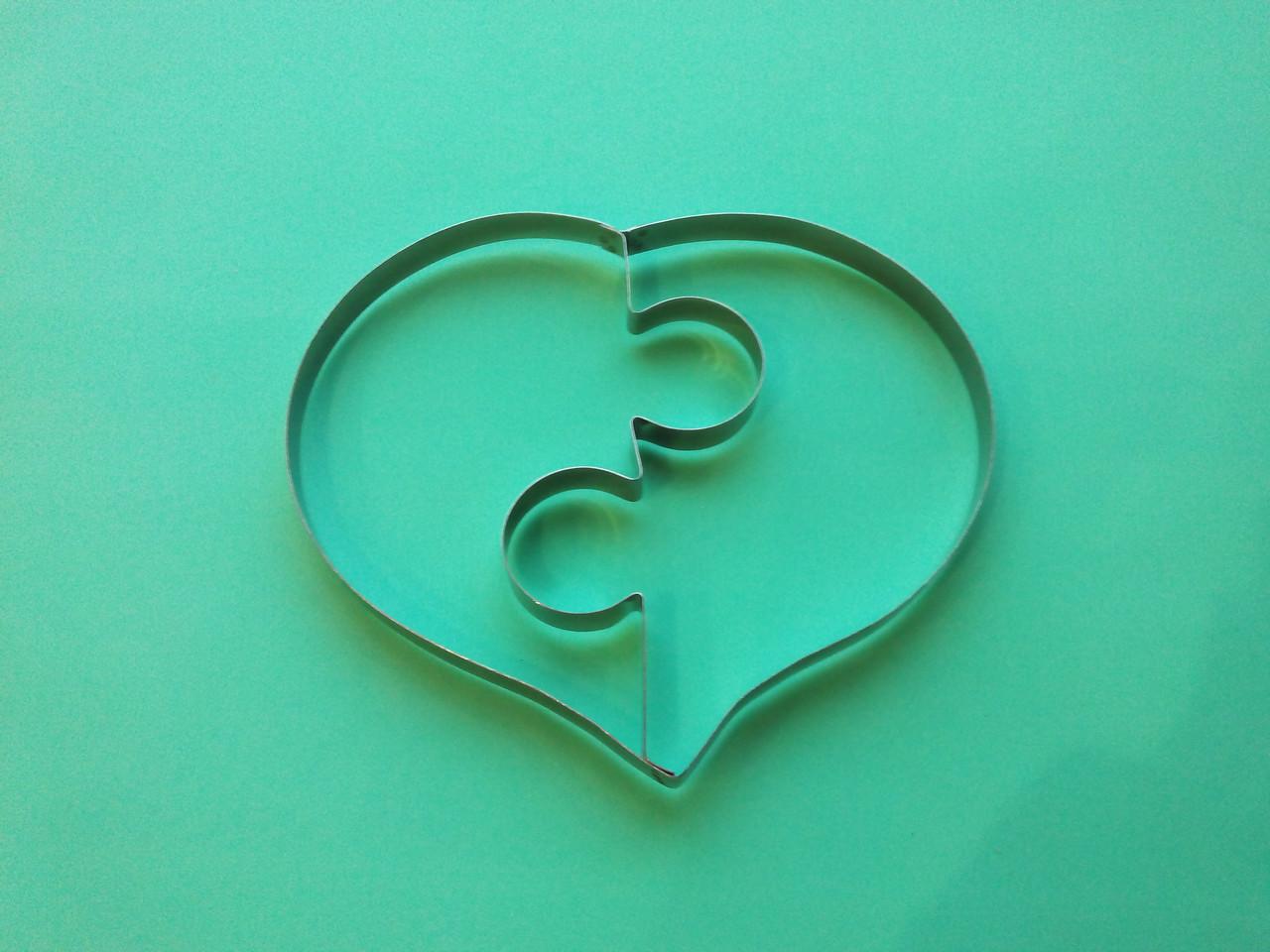 Форма металл для пряников Пазл Сердце