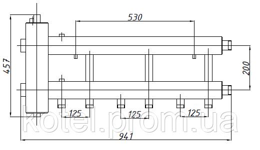 Размеры коллектора СК 332.125 с гидрострелкой СК-26