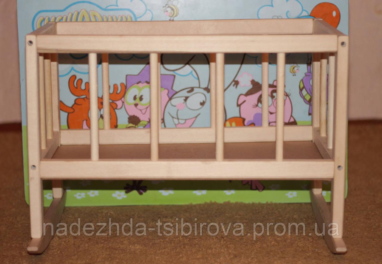 Игрушечная деревянная кроватка для кукол, 45*25*35 см. (бук)