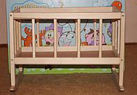 Игрушечная деревянная кроватка для кукол, 45*25*35 см. (бук), фото 1