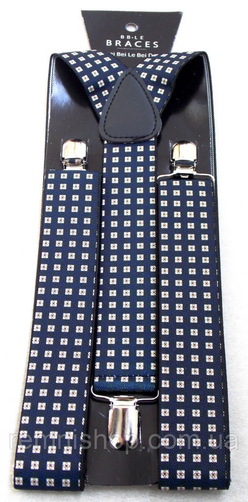 Мужские синие подтяжки BRACES с узором