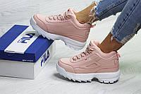 Зимние женские кроссовки Fila, розовые,на меху, фото 1