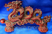 Статуэтка Дракон спираль каменная крошка коричневый