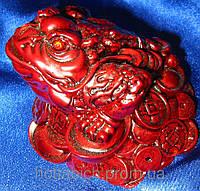 Жаба на монетах каменная крошка коричневая