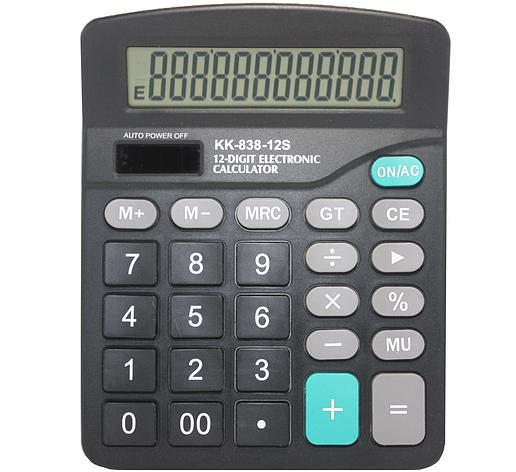 Калькулятор электронный KK 838-12, настольный 12-разрядный, фото 2