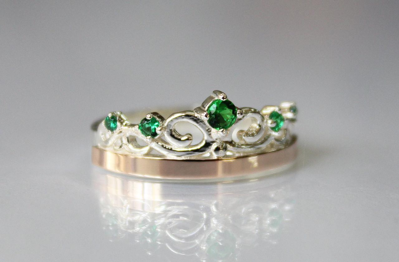 """Серебряное кольцо """"Корона"""" с фианитом"""