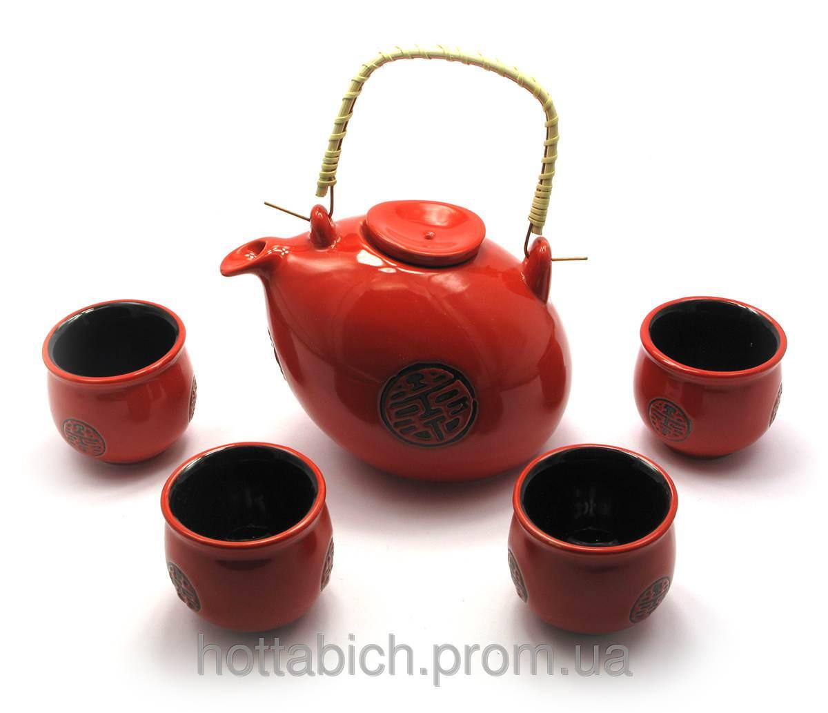 Красный чайный сервиз чайник, 4 чашки