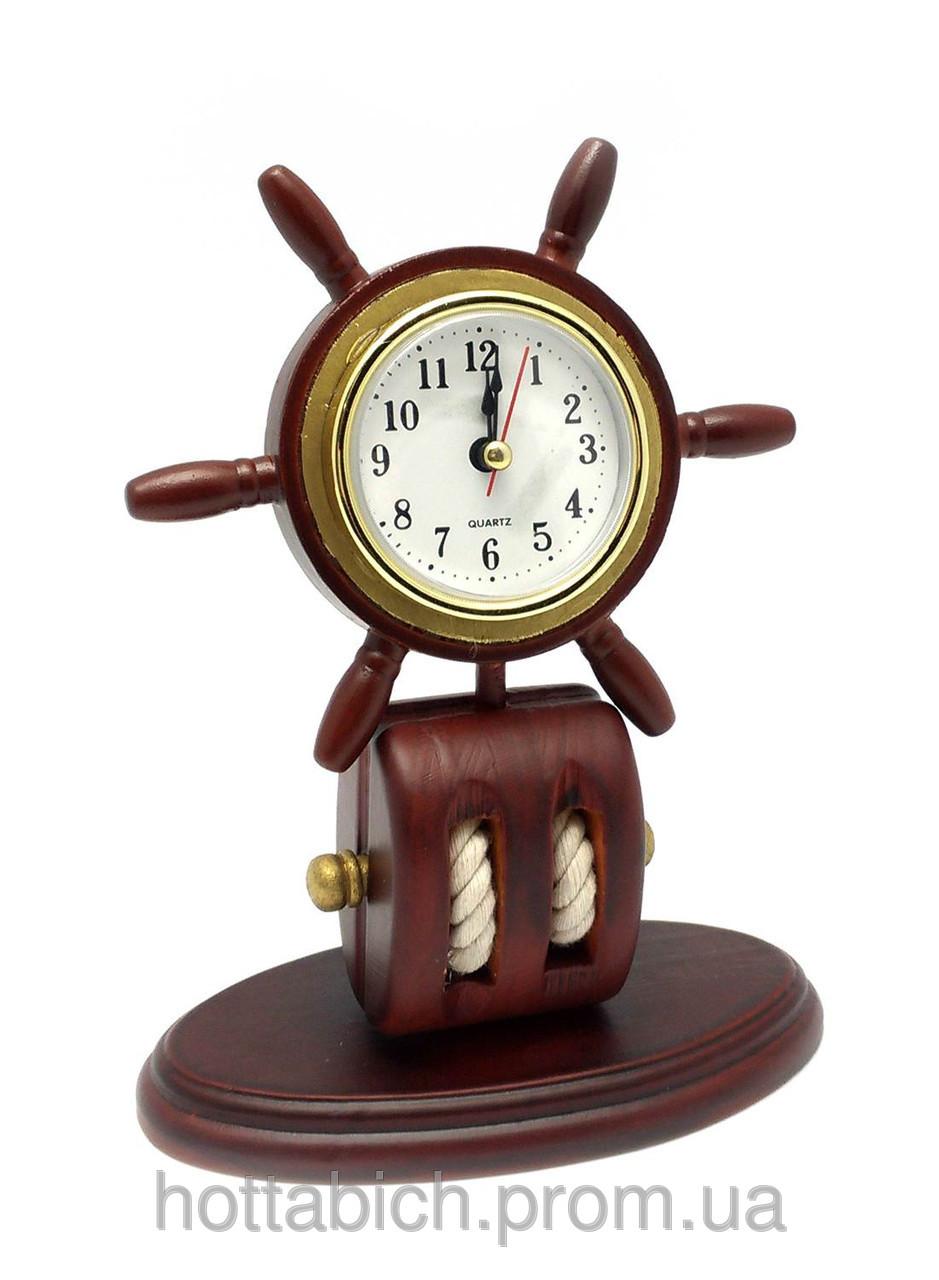 Часы настольные деревянные Штурвал