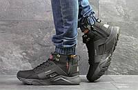 Мужские зимние кроссовки Nike Huarache,черные,нубук, фото 1