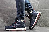 Мужские зимние кроссовки Nike air max 98, на меху,синие с красным, фото 1