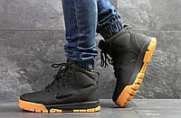 Высокие зимние кроссовки Nike,черные,на меху, фото 1
