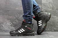 Мужские зимние кроссовки Adidas Climaproof,нубук,черно-белые, фото 1