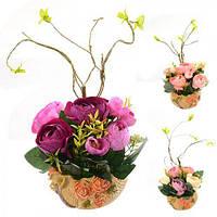 """Акция! Композиция из искусственных цветов """"Розы в горшке"""" 19*21см Stenson (R22316) [Цена снижена на 10% !]"""