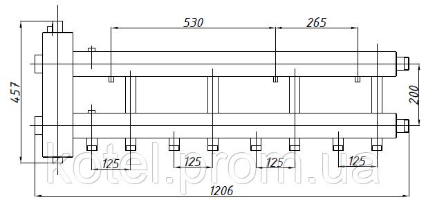 Размеры коллектора СК 432.125 с гидрострелкой СК-26