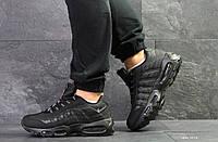 Модные мужские кроссовки Nike air max 95,черные,нубук, фото 1