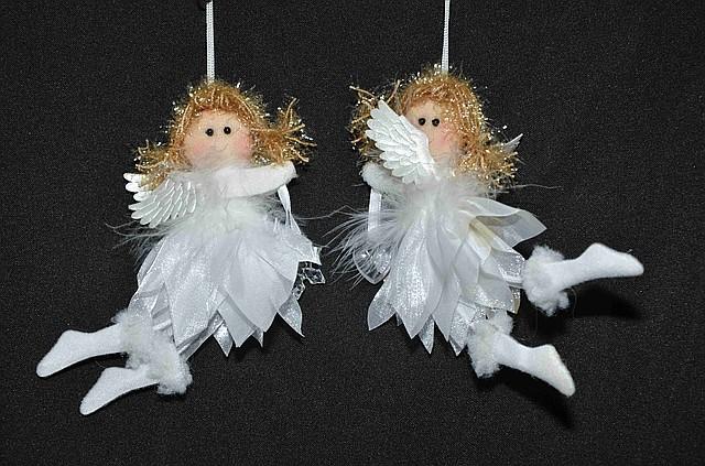Новогодние украшения  Ангелочек   лепестки летящий  маленький  0252