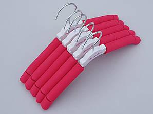 Плечики вешалки детские поролоновые розового цвета, длина 30 см, 5 штук в упаковке