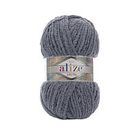 Плюшевая пряжа Alize Softy Plus Софти плюс, №87, т. серый