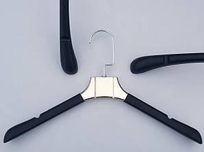 Длина 38 см. Плечики вешалки пластмассовые имитация кожи с вставкой золотого цвета