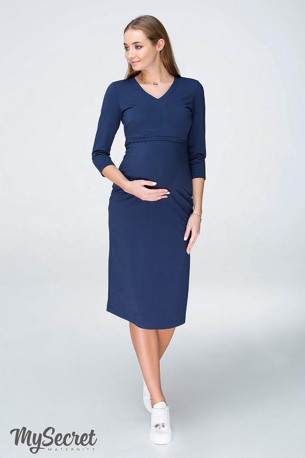 Платье для беременных и кормящих PAM DR-19.011 темно-синее