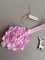 Повязка для волос Розовый Пион ручная работа