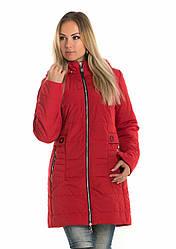 Весеняя, демисезонная удлиненная куртка с капюшоном, р42,44,46 красный(91)