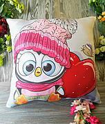 """Декоративна Подушка Новорічна для Декору """"Пінгвін з сердечком"""", 45 * 45 см"""