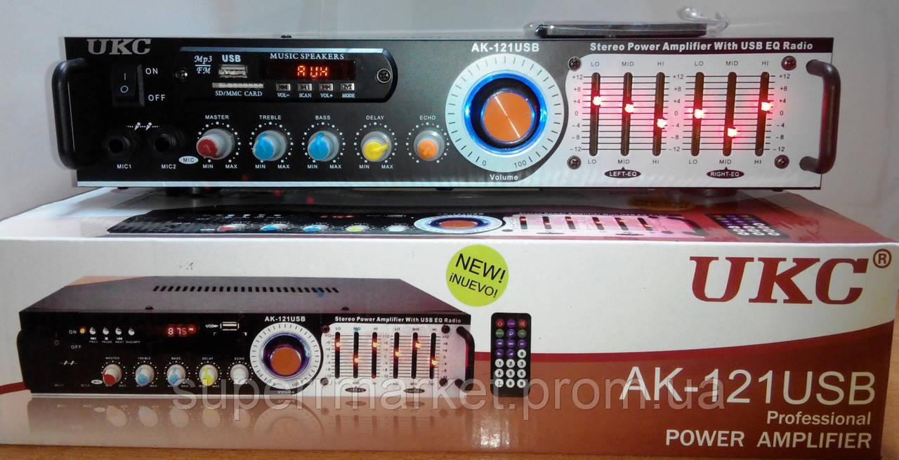 Профессиональный рэковый стерео усилитель AMP UKC AK-121USB c Karaoke