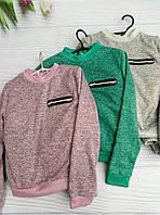 Батник для девочки на 6-9 лет серого, зеленого, бежевого цвета оптом