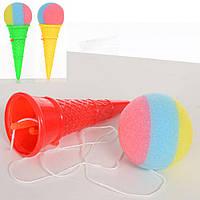Ловушка M 5672 (360шт) мороженое, 18см, 1мягкий шарик, 2 цвета,в кульке, 17-6-6см
