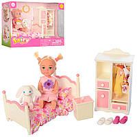 Кукла с нарядом DEFA 8392 (36шт) 11см,кровать, шкаф, платья,игрушка,2вида,в кор-ке,21-15,5-8см
