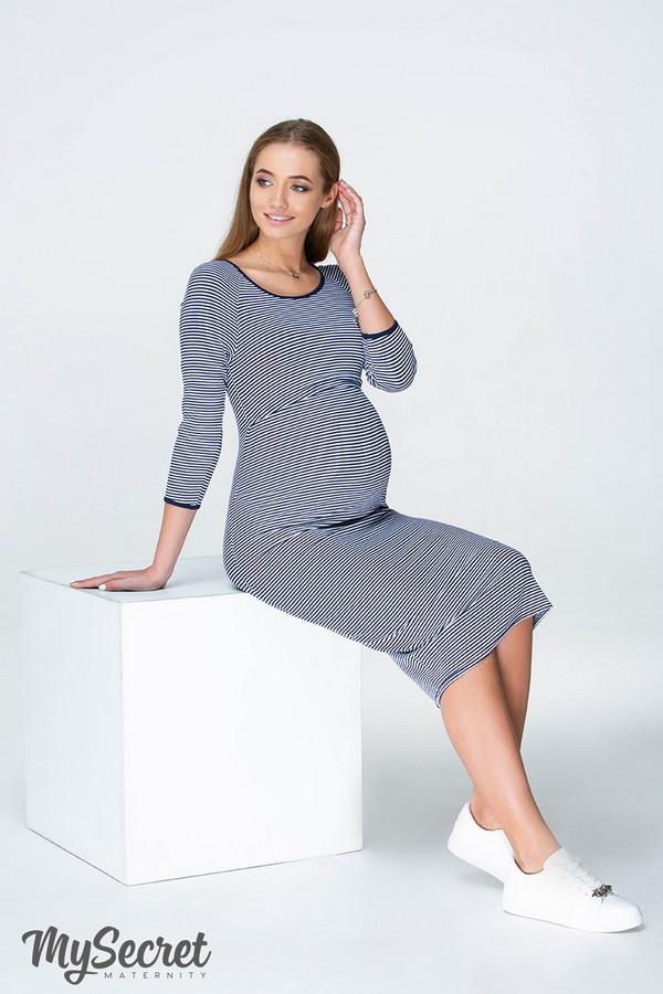 Платье для беременных и кормящих LOLLY DR-19.021, сине-белая полоска, размер М