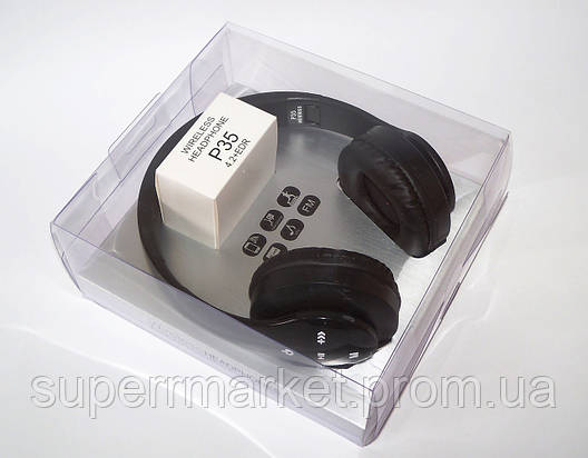 Беспроводные наушники P35 WIRELESS HEADPHONE  FM MP3 SD микрофон  BLACK, фото 2